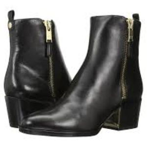 Marc Fisher Bartly Black Leather Gold Zip Boot | 6